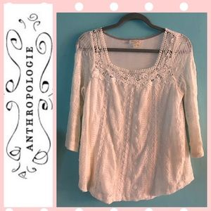 Meadow rue cream lace blouse M EUC